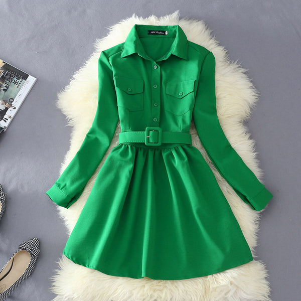 Online discount shop Australia - Autumn Dress For Women Fashion Solid Blouse Dress With Belt Female Long Sleeve Mini Dress Shirts Vestidos L8314