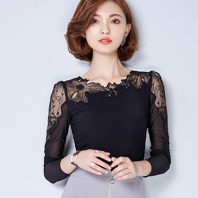 plus size lace blouse chiffon shirt women tops long sleeve women blouses