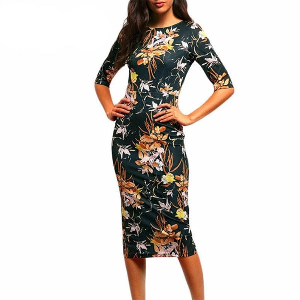 Womens Brand Bodycon Dresses Vintage Spring Summer Office Green Mock Neck Floral Pencil Midi Dress Vestidos