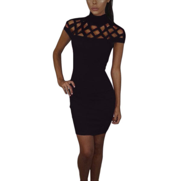 Party Night Turtle Neck Club Dress Hollow Out Mesh Slim Dresses Sexy Skinny Cut Off Black Mini Bodycon Brand