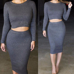 Online discount shop Australia - 2 Piece Set Women Two Piece Outfits Long Sleeve Party Dresses Sexy Bandage Dress Black 2 Piece Dress