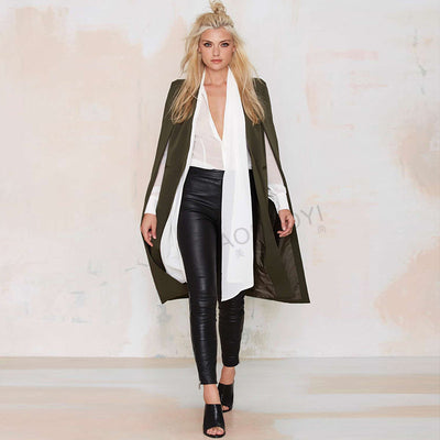 Online discount shop Australia - Fashion Women Overcoat Ponchos Long Vest Open Stitch Cloak AWC0020