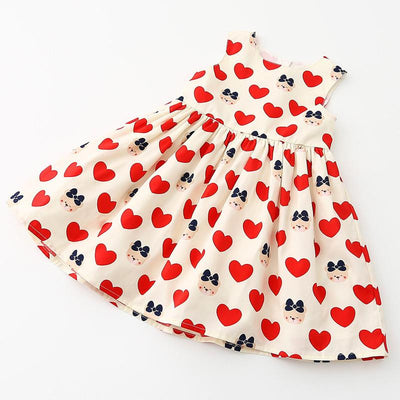 Style Girl Dress Sleeveless Princess Heart Print Kids Dresses For Girls Baby