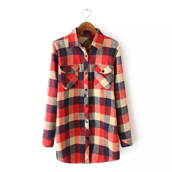 Women Vintage Long Sleeves Plaid Shirts Female Popular Casual Flannel Checked Blouses Tops