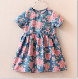Online discount shop Australia - Fashion dress baby girl cute denim dresses kids casual clothing short sleeve print child vestidos