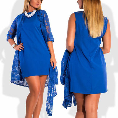 Online discount shop Australia - 2 colors sleeveless elegant blue black solid slim dress straight slim thin plus size sleeveless dresses 5xl 6xl no cape