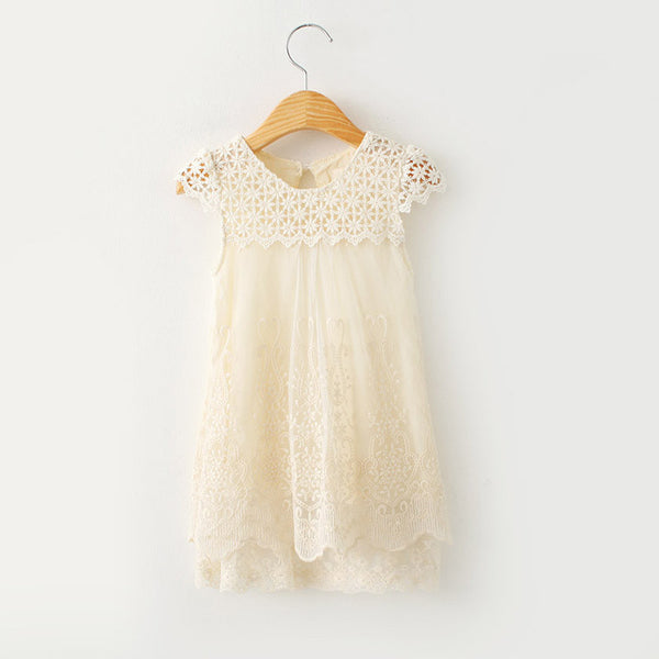Online discount shop Australia - Girls Dress Clothing Children Fashion Lace Princess Dress Kids Party O-Neck Dresses