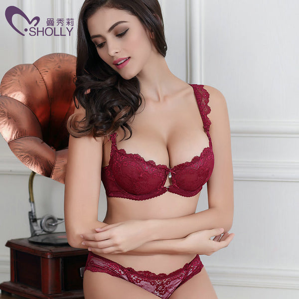 New Lace bra set 32-42 A B C D plus size bra & brief sets Red bra set women underwear set push-up bralette Sexy intimates