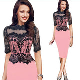Summer Spring Party Lace Pencil Dress Red Green Pink Elegant Midi Dress Retro Women Clothing Work Office Dress