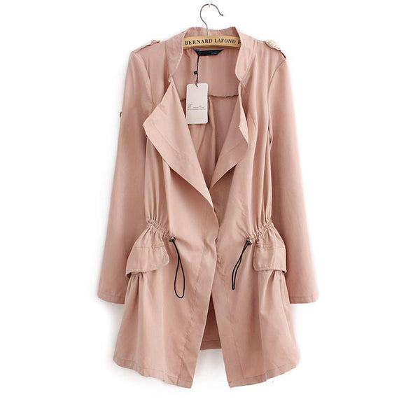 Women Cardigans Casual Turn-down Collar Long Trench Ladies Pleated Pocket Design Outwear Coat