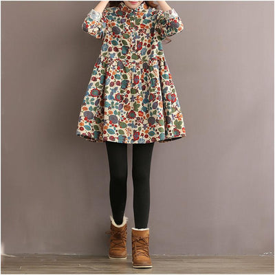 Winter Dress Floral Print A Line Women Dress Long Sleeve High Waist Turn Down Collar Cotton Dress Plus Size Women Clothing
