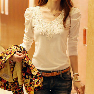 New Women's Casual Shirt Lace Tops Cute Elegant Long Sleeves Blouses