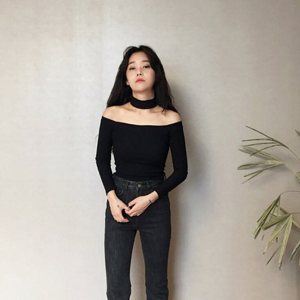 Online discount shop Australia - Choker Tops Women Crop Tops Slash Neck Off Shoulder Cotton Slit Neckline Slim Fit  Asian