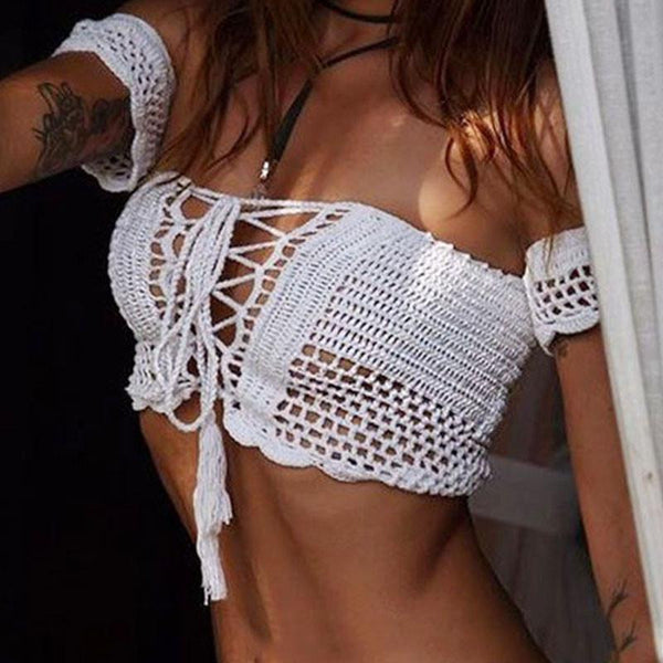Sexy Knitted Crochet White Crop Tops Bikini Beachwear 90's Girls Casual Lace Up Off Shoulder Bikini Bra Tank Top Cropped