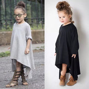 Online discount shop Australia - Baby Girl Dress Max Batwing Loose Asymmetric Long Sleeve Girl Dress For Kids Costume Casual Black and Gray