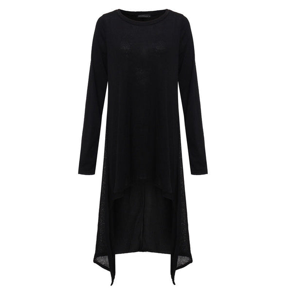 Online discount shop Australia - Fashion Autumn Winter Long Maxi Knitted Dress Women O-neck Long Sleeve Loose Casual Irregular Sweater Dresses Vestidos Plus Size