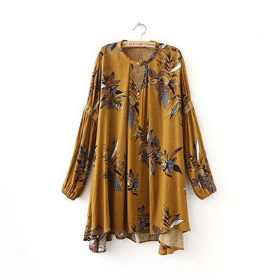 Online discount shop Australia - casual long-sleeved V-neck floral print yellow blue women mini dress