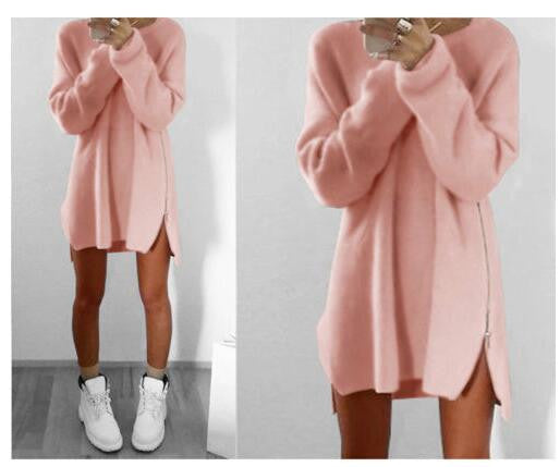 Online discount shop Australia - 6 Colors Autumn Winter Knitting Sweater Dress Women Sweater Dress Loose Casual Zipper Dress Long Sleeve Mini Vestidos GV388