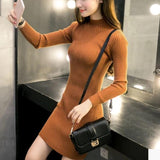 Women Sweater Dresses Casual Black Bodycon Dress Basic Long Sleeve Mini Office Knitted Dress