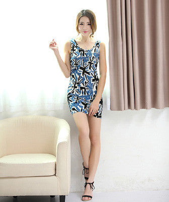 casual Girl's clothes and Women summer dress party sexy print Women's clothing Wild Pattern Tank dress Cotton pattern dresse