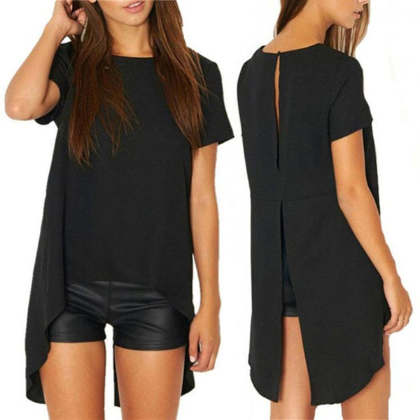 Online discount shop Australia - HOT New Women Ladies Sexy High Low Cotton T Shirt Dress Summer Casual Loose Cut Out Vintage Black Club Party Dress Plus Size Z2