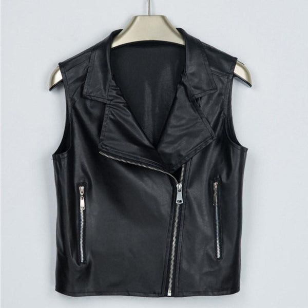 Online discount shop Australia - Fashion Women Leather Vest PU Soft Ladies Zipper Motorcycle Vests Waistcoat Coat Biker