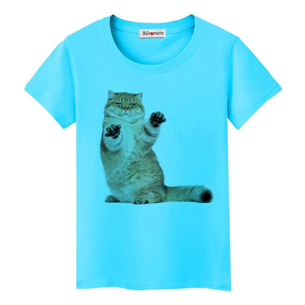 Super cute 3D little cats women lovely cool  shirts Good quality comfortable casual tops brand shirts