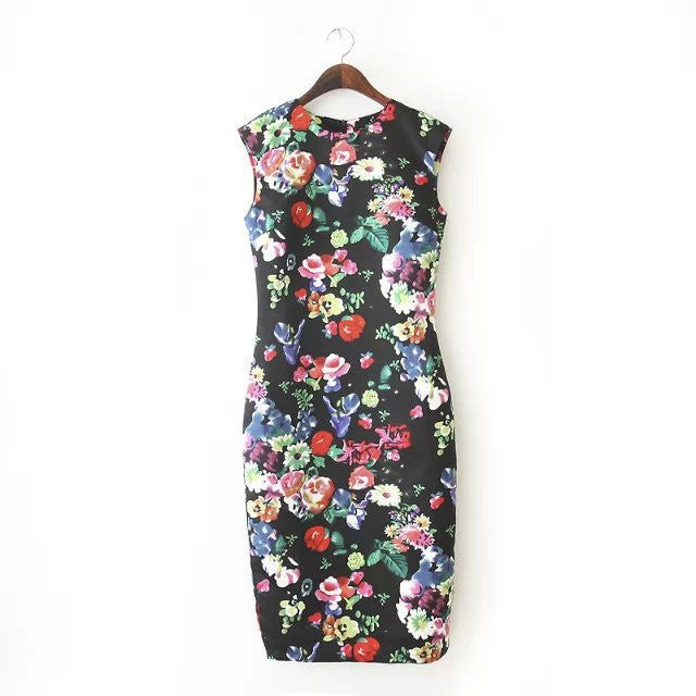 New Autumn Beach Dresses Elegant Slim Women's Dresses Pencil Vestidos Floral Sexy Bodycon Long Party Sexy DressesBlackLa