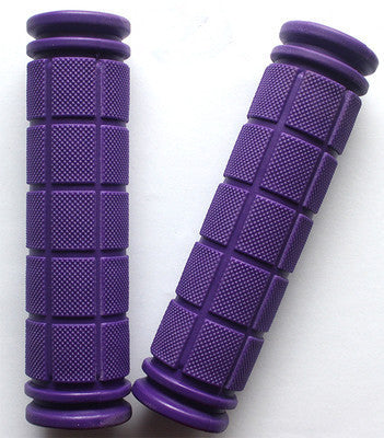Double Lock Soft Rubber Cycling BMX MTB Mountain Bike Scooter Fixed Gear Handlebar Grips Bicycle Parts Accessory ToolPurplea