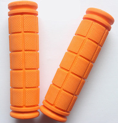 Double Lock Soft Rubber Cycling BMX MTB Mountain Bike Scooter Fixed Gear Handlebar Grips Bicycle Parts Accessory ToolOrangea