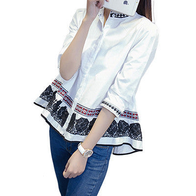Online discount shop Australia - Lace Blouses Three Quarter Cotton Embroidery Ruffles Beads White Shirt