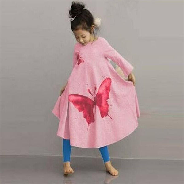 Online discount shop Australia - Baby Girls Full butterfly print Dress 2t-8 Kids Beach Dresses for girls toddler girls clothing