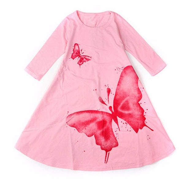 Online discount shop Australia - Girls Dress Children's clothing cute butterfly long sleeve 2 colors cotton dresses 1pcs