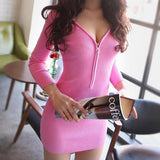 Women Dress Long Sleeve Casual Sexy Deep V-neck Zipper Sexy Party Dress
