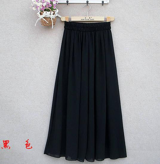 Women's Long Wide Leg Pants Solid Chiffon Skirt Pants Fashion Skorts Culottes Harem Pants Loose High Waist Trousers YLL362Blacka