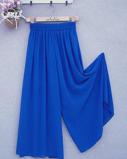 Women's Long Wide Leg Pants Solid Chiffon Skirt Pants Fashion Skorts Culottes Harem Pants Loose High Waist Trousers YLL362Bluea