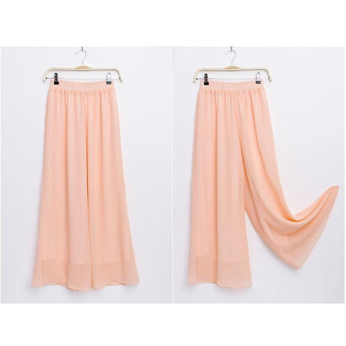 Women's Long Wide Leg Pants Solid Chiffon Skirt Pants Fashion Skorts Culottes Harem Pants Loose High Waist Trousers YLL362Pinka