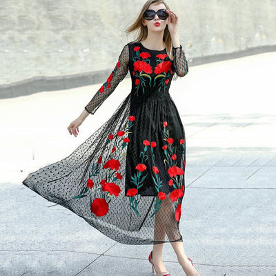 Online discount shop Australia - Fashion New Long Sleeve Sexy Mesh Carnation Embroidery Slim Black Long Dress