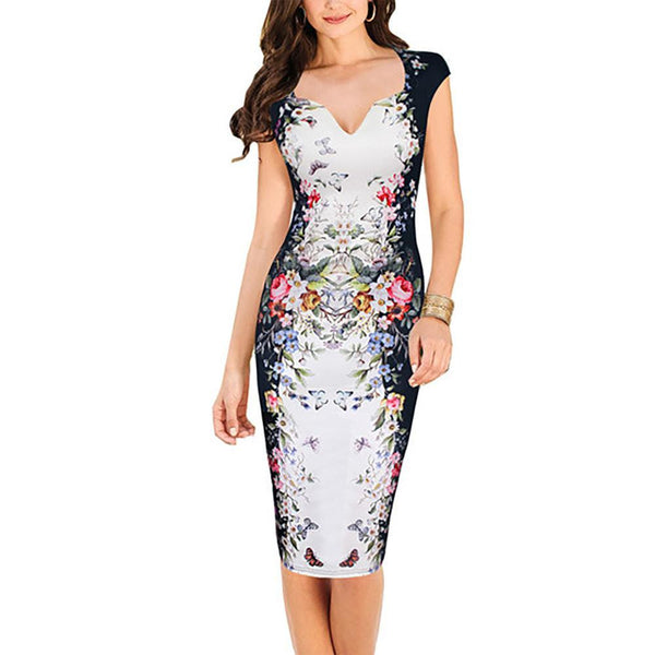 Women Elegant Sleeveless Flower Print Natural OL Career Pencil Dress Lady V-Neck Zipper Knee-Length Dresses S-3XL