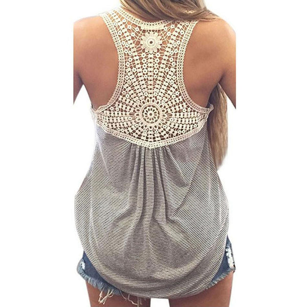 Sexy  Back Lace Tank Tops Women Gray Hollow Out Floral Tops Casual Sleeveless Plus Size Shirts camis S-XL