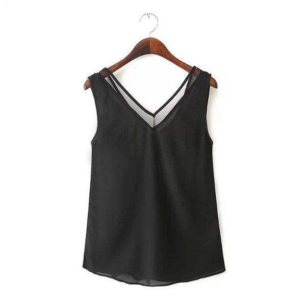 Online discount shop Australia - Casual Women Lace V-Neck Vest Chiffon Sleeveless Tank Top fashion clothing