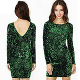 Online discount shop Australia - Autumn Winter Sequined Dress Women 2017 Special Occasion Bodycon Dress Party Dresses Long Sleeve Mini Dress Green Vestidos