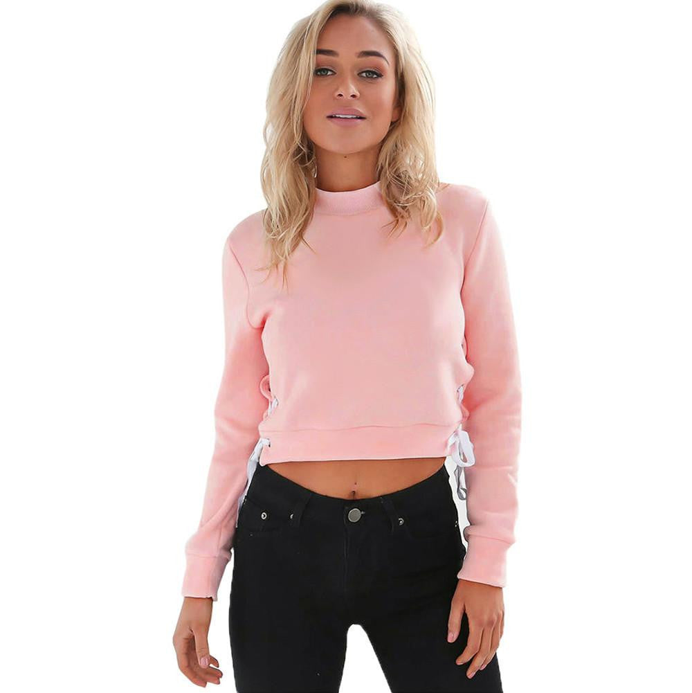 Autumn Winter Women Sexy Slit Lacing Pullover Jumper Hoody Solid Long Sleeve Crop Top Blouse Sweatshirt Ropa Mujer Plus SizePinkXLa