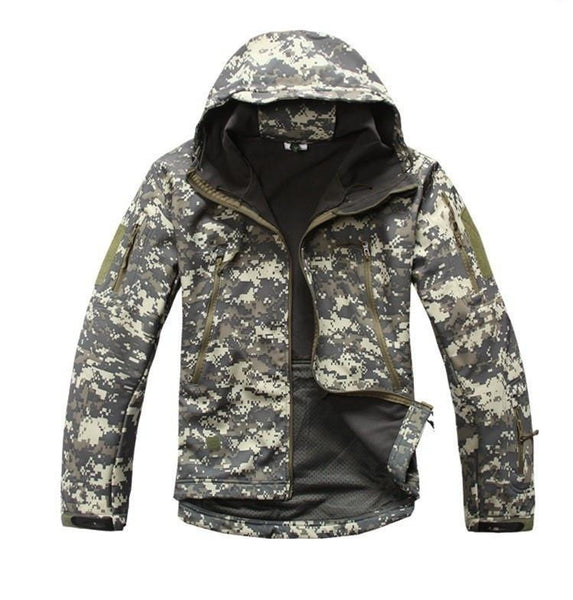 Tactical Snake Camouflage Army Jacket Men Military Shark V4.5 Waterproof Soft Shell Outdoors Jackets Fleece Hooded Camo Clothes
