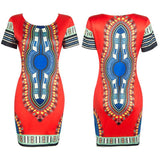 Summer Dress Sexy Mini African Tranditional Print Dashiki Dress Ladies Dresses Folk Art African Women Dress Clothing