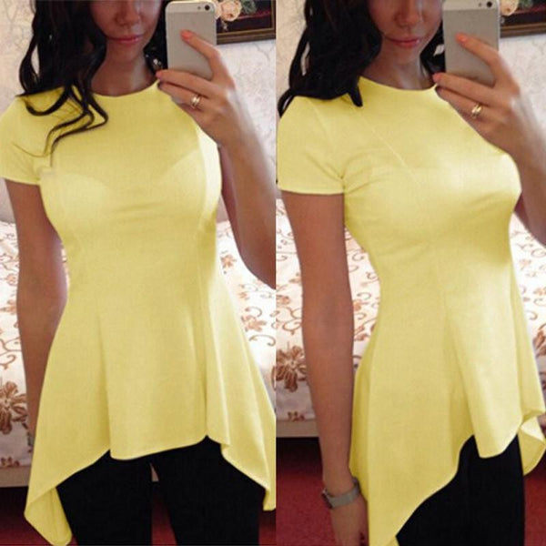 Women Blouse Ladies Short Sleeve O Neck Irregular Hem Peplum Waist Slim Fit Shirt Tops Plus Size S-4XL