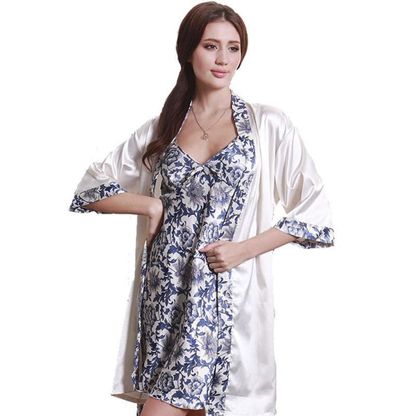 3bba113ee2 Women Robe Gown Set Fashion Faux Silk Satin Sleepwear Home Suit Night Sleep  2 pcs Bathrobe