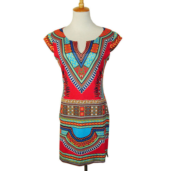 Online discount shop Australia - Boho Tranditional African Print Dashiki Dresses for Women Sexy Club Bodycon Summer T Shirt Dress 2017 Red Tunic Clothing Robe