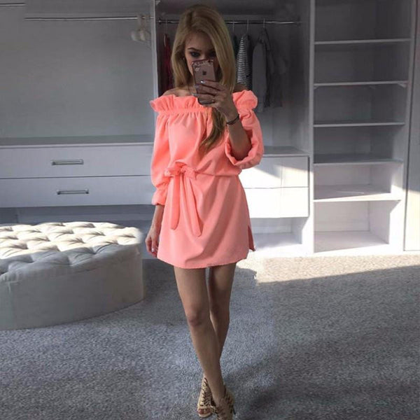 Women Spring Autumn Chiffon Dress Fashion Ruffles Slash Neck Bow Belt Dresses Vintage Puff Sleeve Kawaii Loose Straight Dress