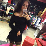 Women Knitting Dress Long Sleeve Sexy Short Pencil Knitted Dress Slim Bodycon Party Vestidos Lace Sweater Dresses
